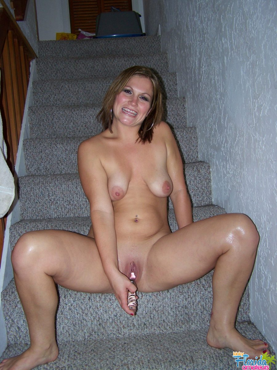 Kinky Amateur Milf Toni On Stairs With Her Glass Dildo